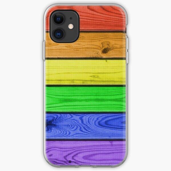 Rainbow Pride Wood Planks iPhone Soft Case