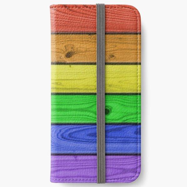 Rainbow Pride Wood Planks iPhone Wallet