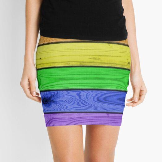 Rainbow Pride Wood Planks Mini Skirt