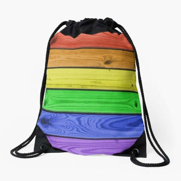Rainbow Pride Wood Planks Drawstring Bag
