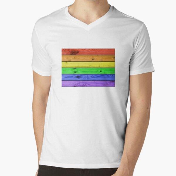 Rainbow Pride Wood Planks V-Neck T-Shirt