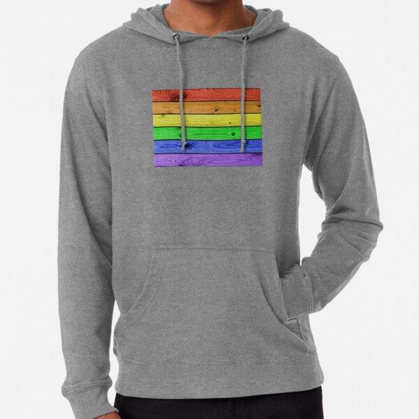 Rainbow Pride Wood Planks Lightweight Hoodie