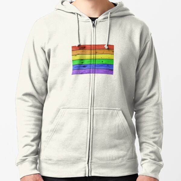 Rainbow Pride Wood Planks Zipped Hoodie