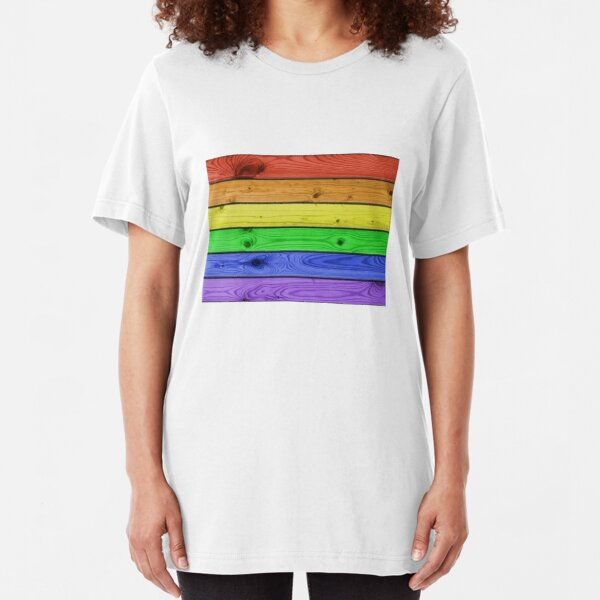 Rainbow Pride Wood Planks Slim Fit T-Shirt