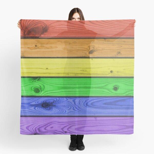 Rainbow Pride Wood Planks Scarf