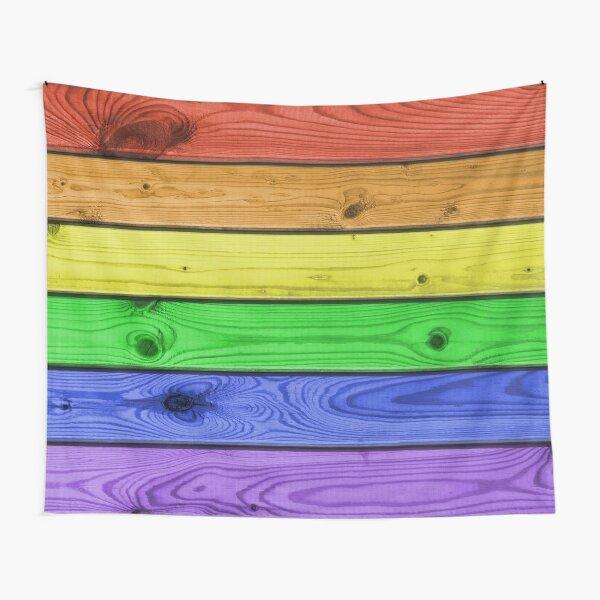 Rainbow Pride Wood Planks Tapestry