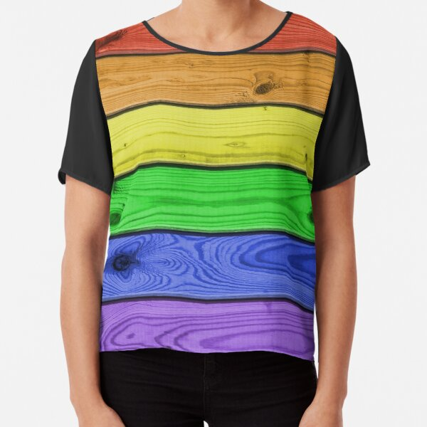 Rainbow Pride Wood Planks Chiffon Top
