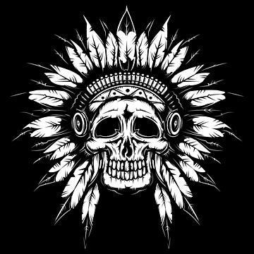 Indian skull skull feather headdress by Skullz23
