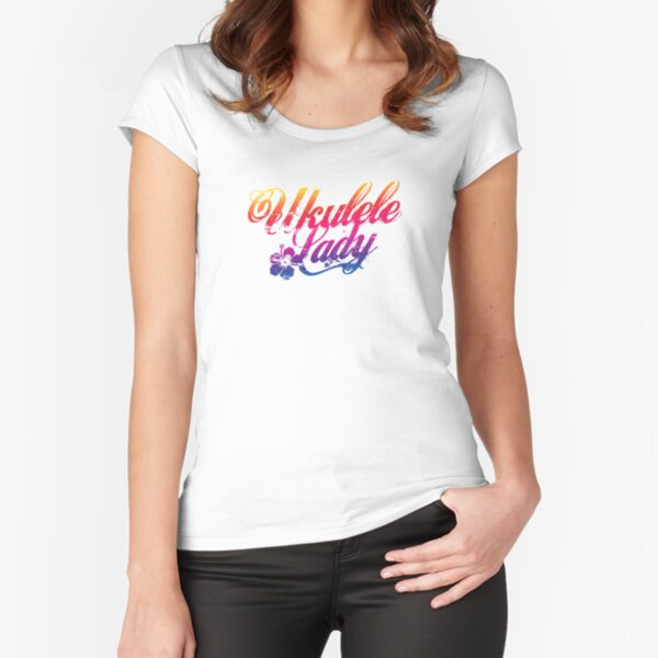 Ukulele Lady Fitted Scoop T-Shirt