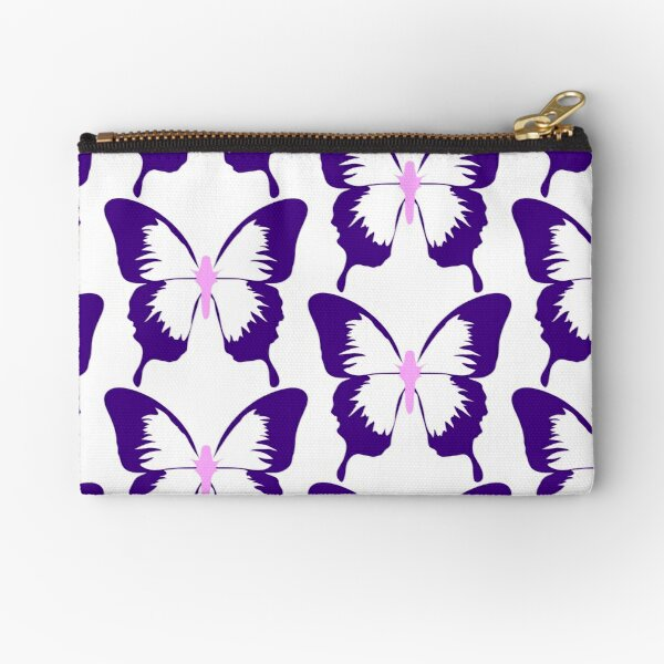 Blue and Purple Butterfly Zipper Pouch