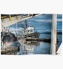 Tug Boat docked in the harbor Poster
