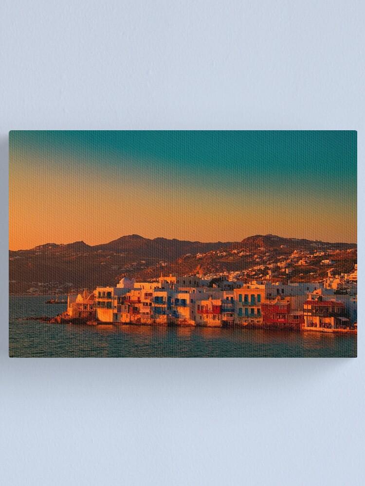 Alternate view of Greece. Mykonos. Little Venice at sunset. Canvas Print