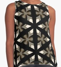 Black, Tan and Cream Kaleidoscope Pattern Contrast Tank