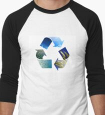 Conceptual recycling sign with images of nature Men's Baseball ¾ T-Shirt