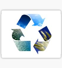 Conceptual recycling sign with images of nature Sticker