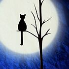 black cat and full moon 2 by studenna