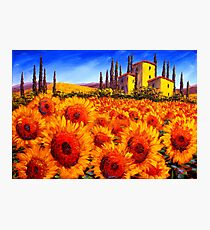 Tuscan Villa in the Sunflowers Photographic Print