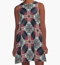 Magenta, Teal, and Navy Blue  Geometric Floral Pattern A-Line Dress