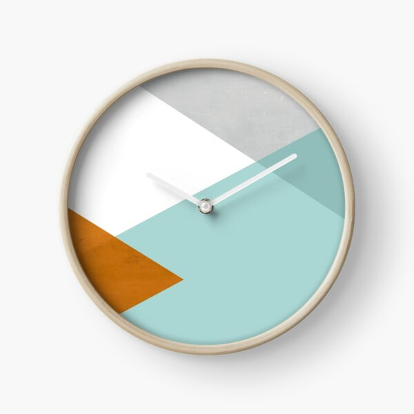 Geometrics - aqua & orange concrete Clock