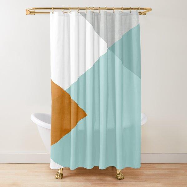 Geometrics - aqua & orange concrete Shower Curtain