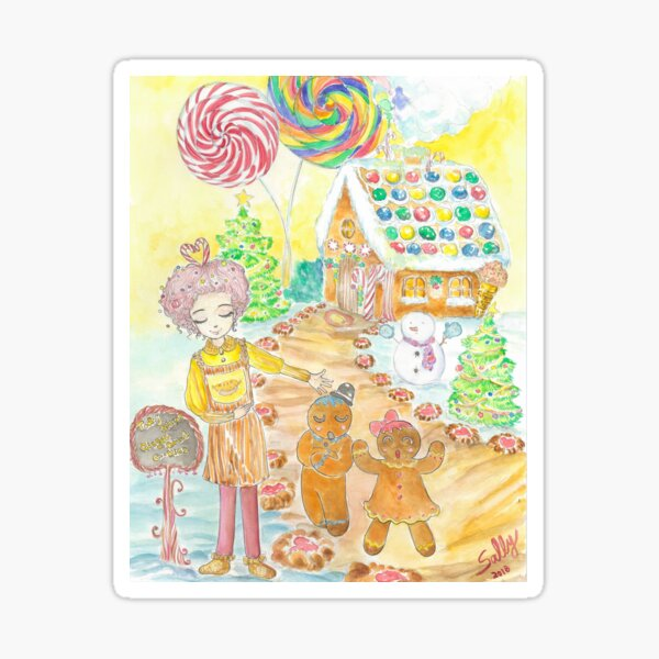 Gingerbread Cafe 1 (watercolor) Sticker