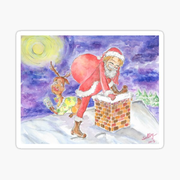 Part Time Santa (watercolor) Sticker