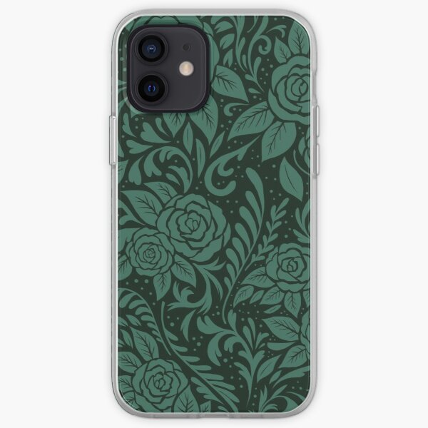 Floral Tile Pattern Dark Green iPhone Soft Case