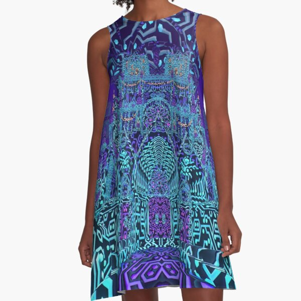 Kaleidoscopic Highway - Neon Cathedral (Blue) A-Line Dress