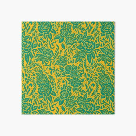 Floral Pattern - Turquoise and Gold 2 Art Board Print