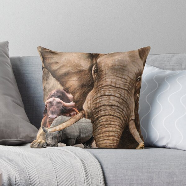 """A COLLAGE OF AFRICA'S """"BIG 5"""" -  Throw Pillow"""