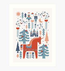 Scandinavian Inspired Folkstory Rot + Blau Kunstdruck