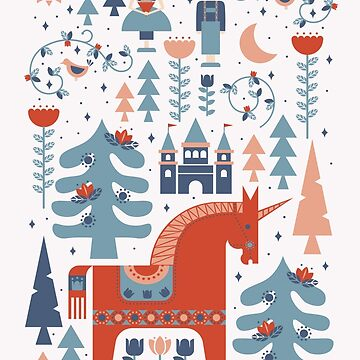Scandinavian Inspired Folkstory Red + Blue by latheandquill