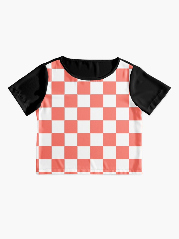 Alternate view of LIVING CORAL CHECK PATTERN WITH WHITE - PANTONE COLOR OF THE YEAR 2019 Chiffon Top