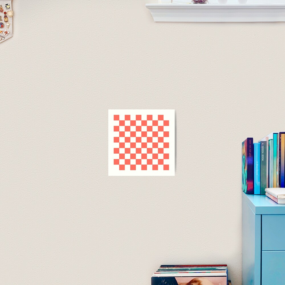 LIVING CORAL CHECK PATTERN WITH WHITE - PANTONE COLOR OF THE YEAR 2019 Art Print
