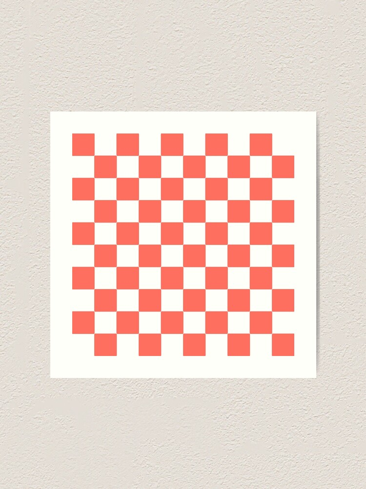 Alternate view of LIVING CORAL CHECK PATTERN WITH WHITE - PANTONE COLOR OF THE YEAR 2019 Art Print