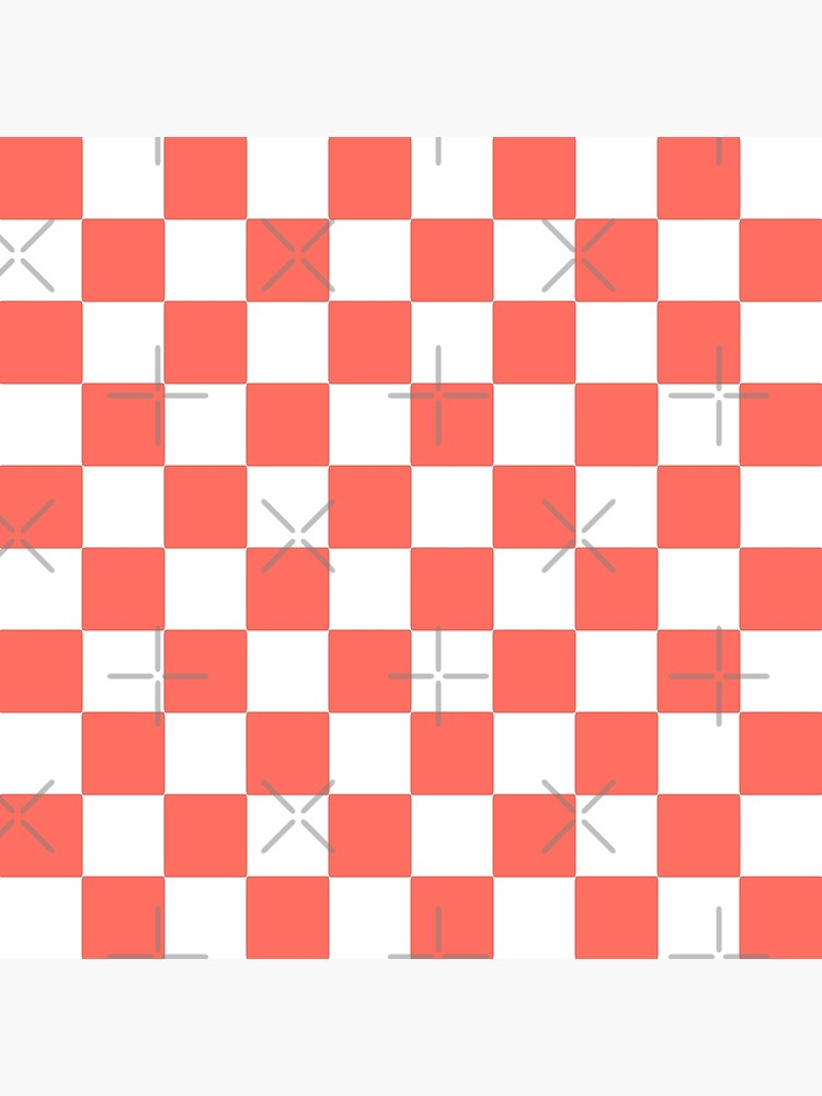 LIVING CORAL CHECK PATTERN WITH WHITE - PANTONE COLOR OF THE YEAR 2019 by ozcushionstoo