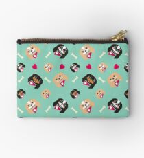 King Charles Cavalier spaniels. Cute puppies on aqua background Studio Pouch