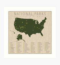 US National Parks Art Print