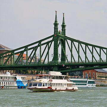 Liberty bridge and boats, Budapest by FranWest
