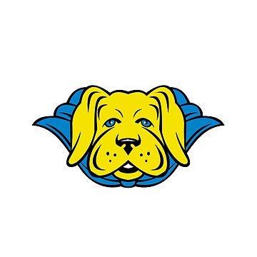 Super Yellow Lab Dog Wearing Blue Cape  by patrimonio