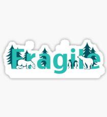 Fragile - polar bears arctic scene Sticker