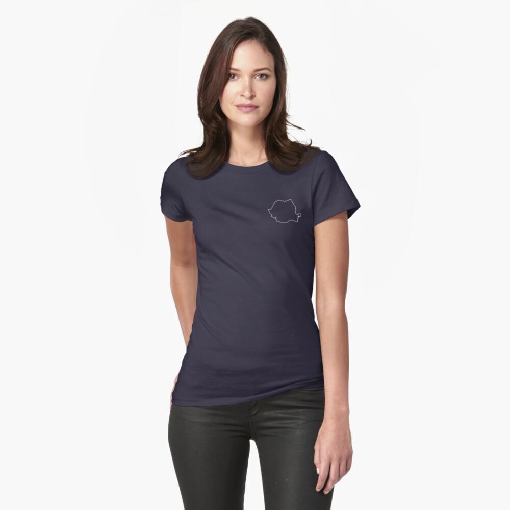 Romania map contour Womens T-Shirt Front