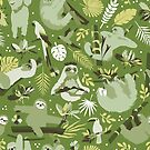 Easy living jungle sloths | green by camcreativedk