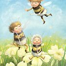 The Bimbles - Cute bee-pixie family by Petra Brown
