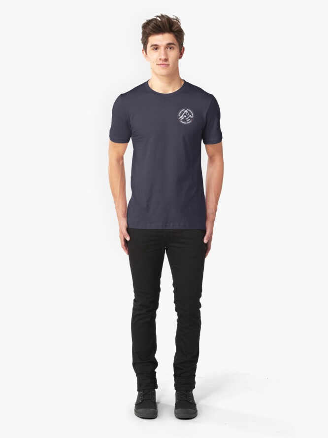 Alternate view of International Association of Mountain addicts badge Slim Fit T-Shirt