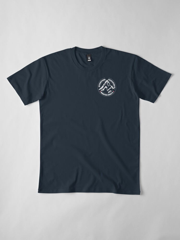 Alternate view of International Association of Mountain addicts badge Premium T-Shirt
