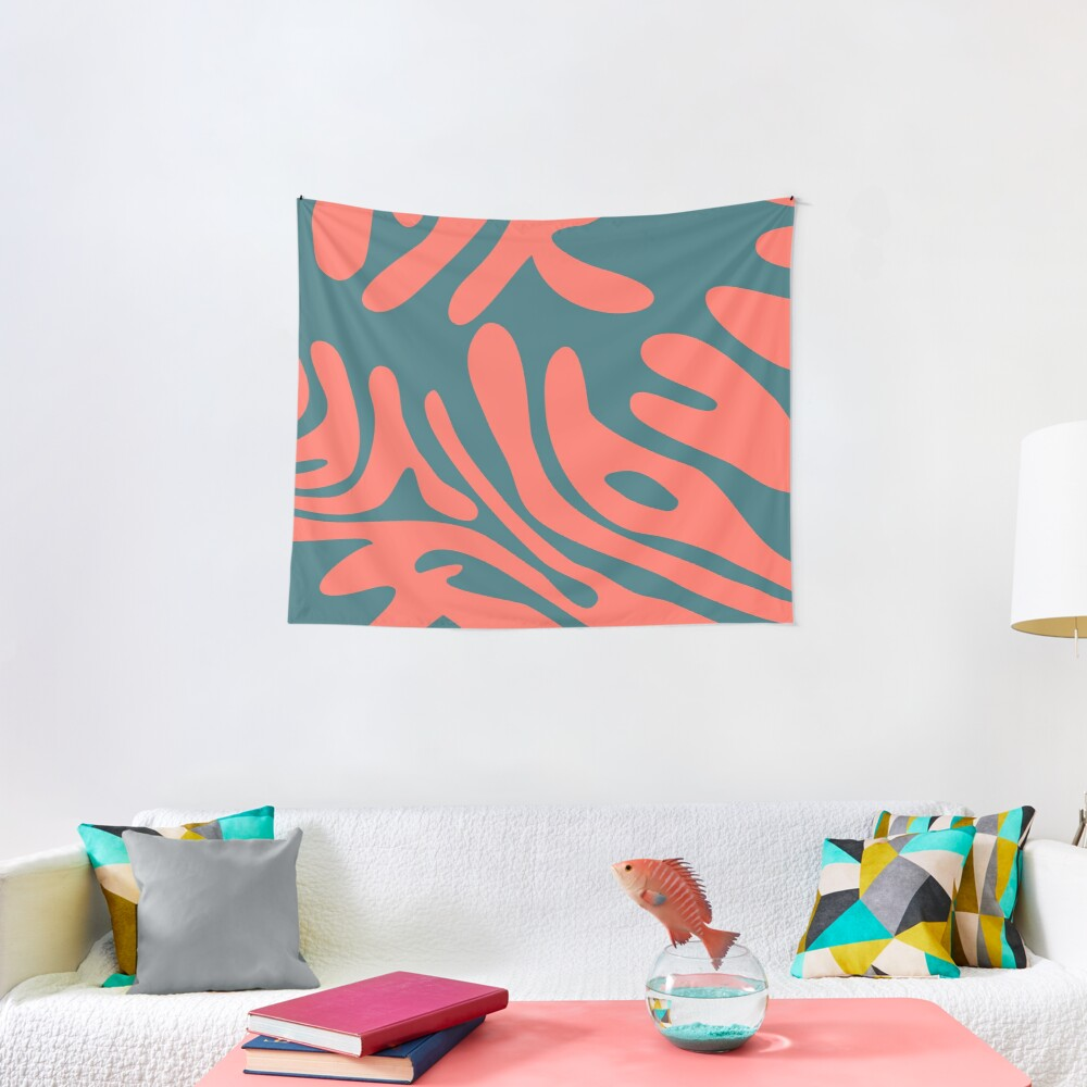 Living Coral in the Deep Sea - Pantone Color Trend 2019 Tapestry