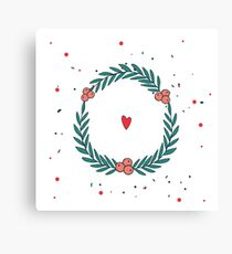 Hand drawn cute Christmas wreath with heart and polka dots New Year Holiday celebration template for your design Unique and pretty on white background Canvas Print