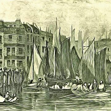 Billingsgate Wharf and Fish Market, Lower Thames Street, River Thames, London 17th century by ZipaC