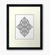 Diamonds - Geometric Lines Pattern (Black) Framed Print